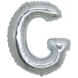Lettera G In Mylar Argento 76cm
