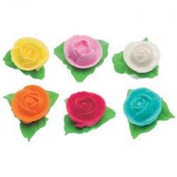 Cf.6 Rose Con 3 Foglie Azzurro