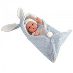 ARIAS - Bebè 33 cm coperta con orecchie Azzurro