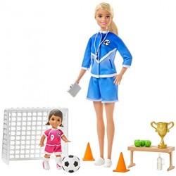 Barbie- Playset Allenatrice di Calcio con 2 Bambole e Accessori Giocattolo per Bambini 3+ Anni, GLM47