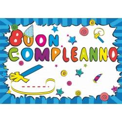 Cartellone Buon Compleanno 100x70cm Blu