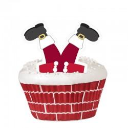 Decorazioni Cupcakes Babbo Natale 48pz
