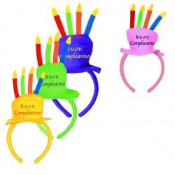 Cerchietto Buon Compleanno 4 Colori Ass
