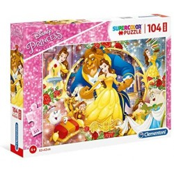 Clementoni - 23745 - Supercolor Puzzle - Disney The Beauty And The Beast - 104 Maxi Pezzi - Made In Italy - Puzzle Bambini 4 Ann