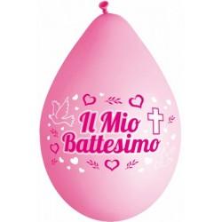Palloncini Medi Rosa Battesimo 8pz