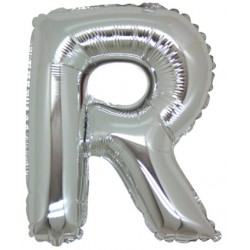 Lettera R In Mylar Argento 76cm