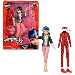 Rocco Giocattoli - Miraculous - Bambola con i suoi due abiti - Ladybug e Marinette - Bambola articolata da 26 cm con i suoi due