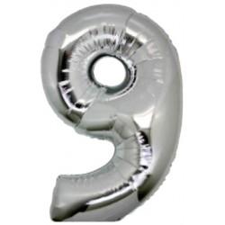 Numero 9 In Mylar Argento 100cm