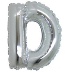 Lettera D In Mylar Argento 76cm